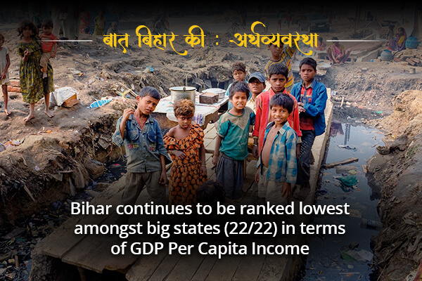 Bihar is the lowest amongst the GDP per capita Income- Baat Bihar ki